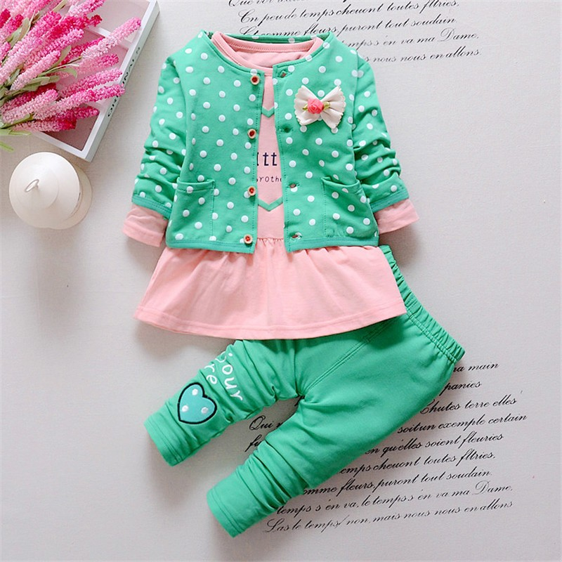 BibiCola Baby cotton suit sets children's clothing 3PCS coat+ T shirt + Pants children Cute Princess Print Bow baby girl outfits fashion baby girl t shirt set cotton heart print shirt hole denim cropped trousers casual polka dot children clothing set