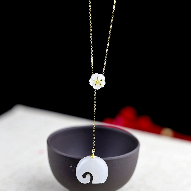 LouLeur jade 100% 18K gold necklace gold natural white jade elephant flowers 18K gold necklace for women gold jewelry 18K gift yoursfs 18k rose white gold plated letter best mum heart necklace chain best mother s day gift