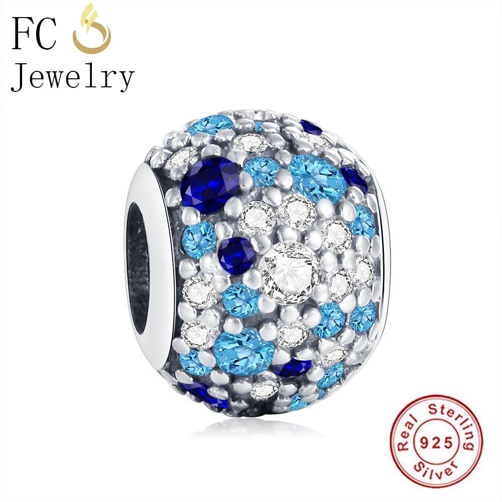 FC Jewelry 925 Sterling Silver Ocean Mosaic Pave Mixed Blue Zircon Charm Bead Fit Original Pandora Charm Bracelet DIY Berloque