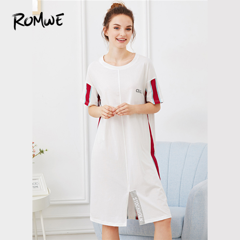 ROMWE Striped Letter Split Front Night Dress Women Round Neck Short Sleeve 2018 Summer Multicolor Ladies Casual Sleepwear