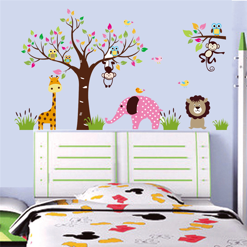 Cute Animals Kingdom Wall Stickers Kids Room Decoration Posters BIG Lovely  Animals Wallpaper Wall Decor Vinyls Children Stickers In Wall Stickers From  Home ...