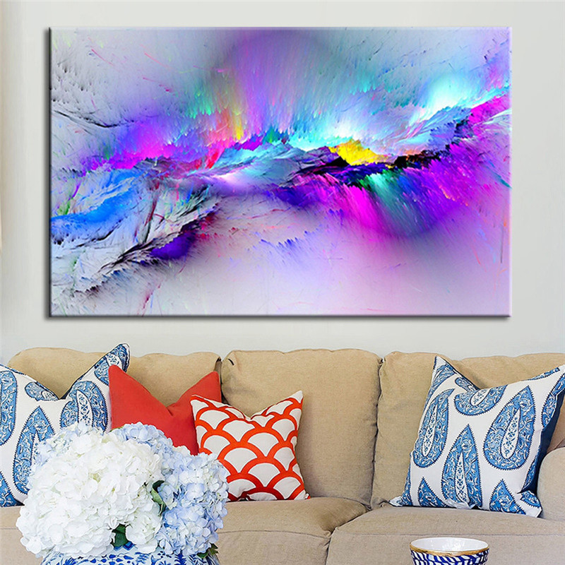 framed multicoloured blue canvas