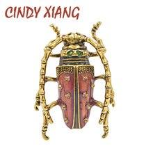 CINDY XIANG-broche d'insectes Vintage, couleur rose, broches grand coléoptère, yeux rouges, exquis en émail, bijoux de haute qualité