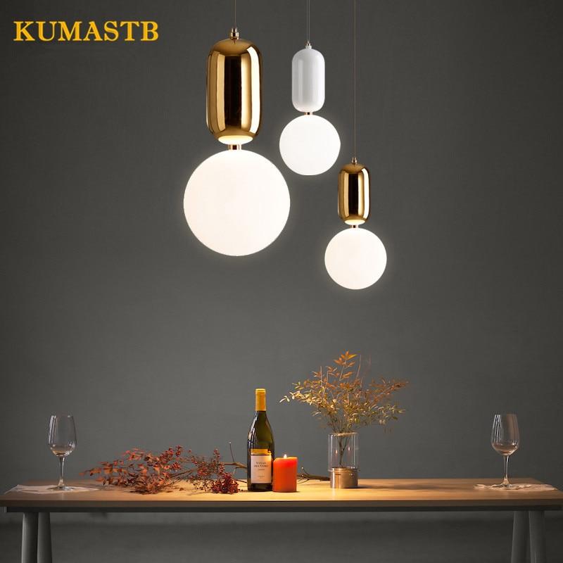 Modern Hanging Light Ball Pendant Light Nordic Dinning Room Lamp Bar Art Glass Ball Pendant Lamp Bedroom LED Suspension Light