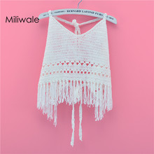 Beach straps tube top holiday hollow out knitted tassel bikini cover white women top tank attractive crochet hollow out tank top for women