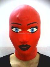 2016 New design Hot sex rubber Unisex Sexy Lingerie Bodysuit red spliced Women Latex Hoods Mask Hood Fetish uniform Plus Size