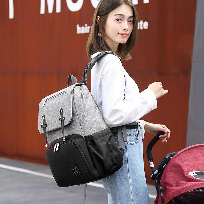 HTB1 7oNaULrK1Rjy1zbq6AenFXaJ Diaper Bag Mummy Daddy Backpack Baby Stroller Bag Waterproof Oxford Handbag Nursing Nappy Kits Maternity Bag USB Warmer Holder