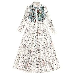 Image 2 - XF 66 2018 Nieuwe Herfst Stijl Hoge Kwaliteit Fashion Designer Vintage Vrouwen Revers Lange Mouwen Pailletten Onderzeese Print Slanke Lange jurk