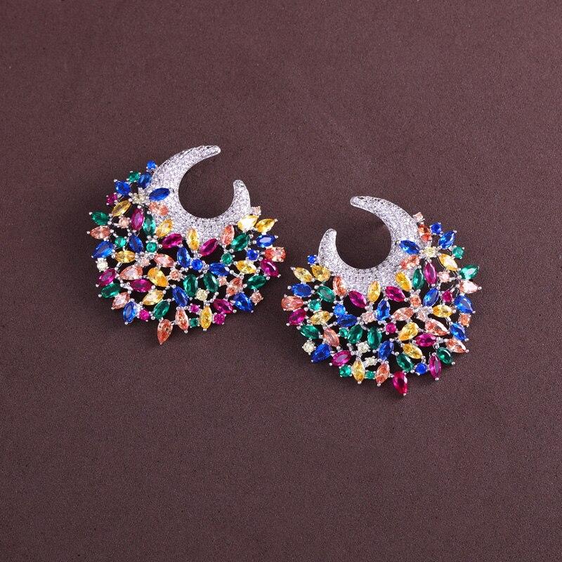 цена на Earring better New flower shape and Cubic Zircon stud Earrings for Women gift for free shipping