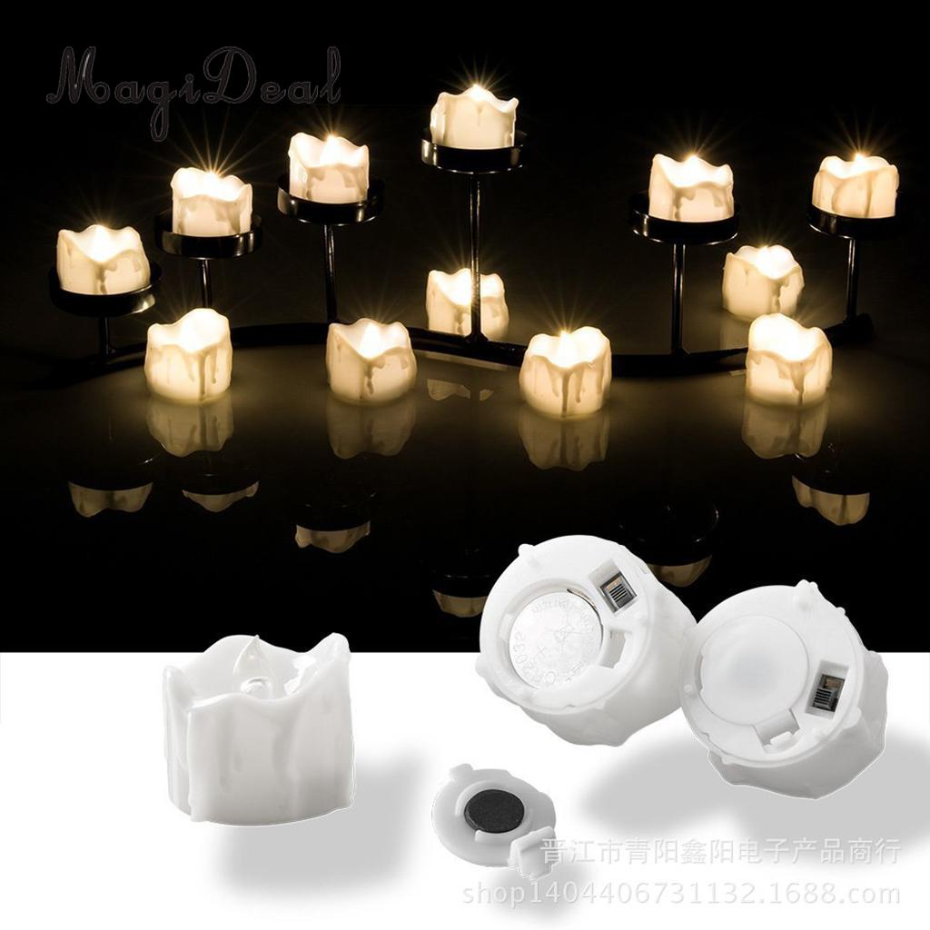 MagiDeal Electric LED Candles Flickering Flameless Tea Light Party Decor Warm White C