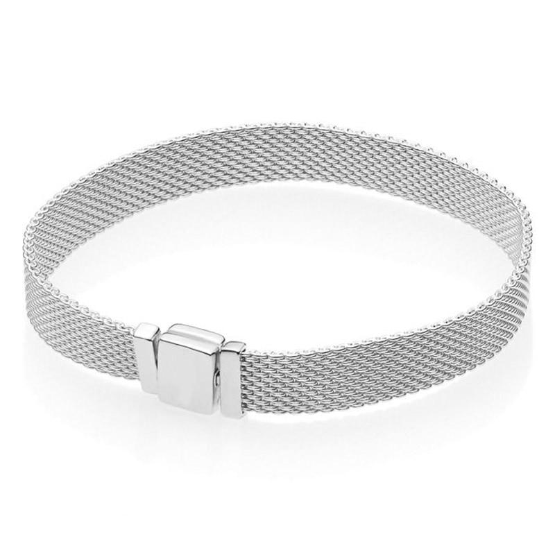 New 925 Sterling Silver Bracelet Woven Mesh Silver Reflexions Bracelets Bangle Fit Women Bead Charm Europe Diy Jewelry