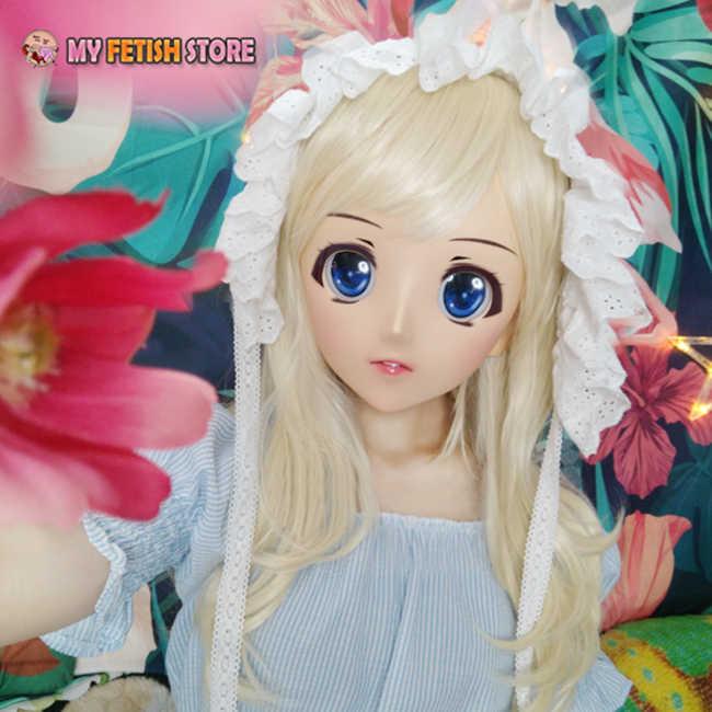 (Juzi-01) יפן אנימה Kigurumi מסכות קוספליי Kigurumi קריקטורה אופי תפקיד לשחק חצי ראש לוליטה בובת מסכה עם עיני ופאה