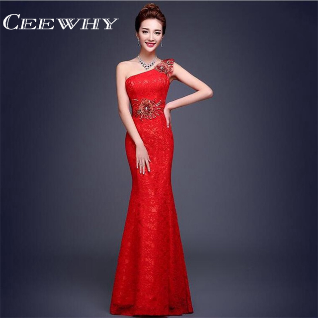 CEEWHY Vestido de Festa One Shoulder Embroidery Evening Dress Long Trumpet  Mermaid Lace Formal Dresses Elegant Evening Gown deac536db68a