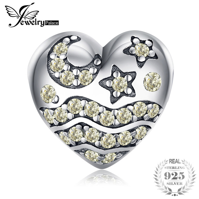 JewelryPalace 925 Sterling Silver Champagne Cubic Zirconia Star Moon Wave Charm Beads Fit Bracelets For Women As Beautiful Gifts
