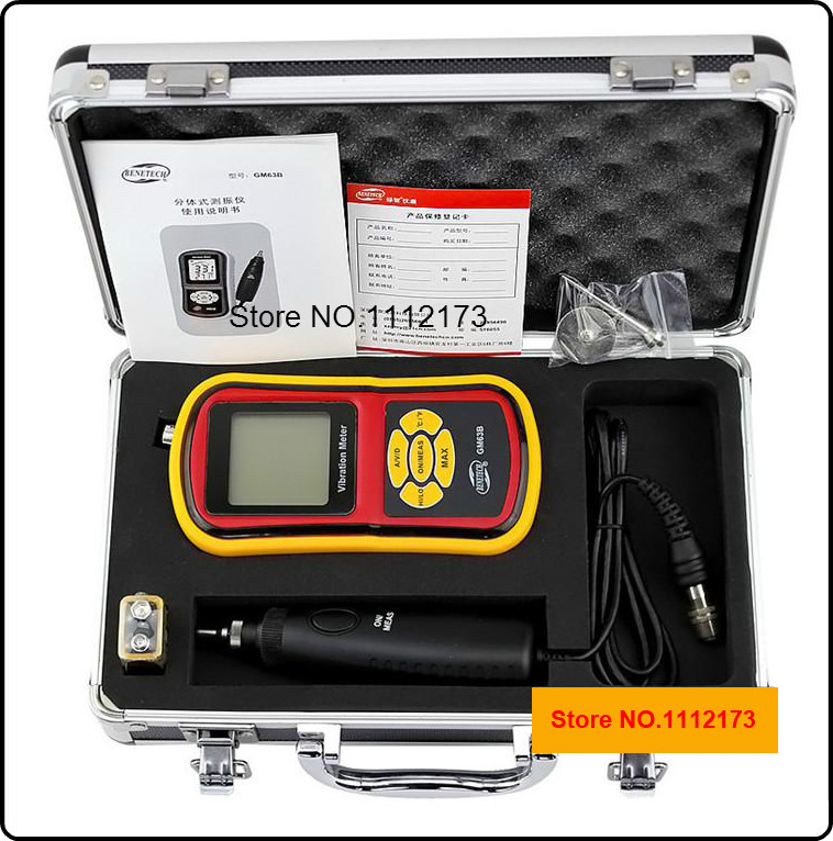 LCD Digital Vibrometer Vibration Analyzer Tester Meter + Temperature Meter Max Hold with retail pack GM63B  цены