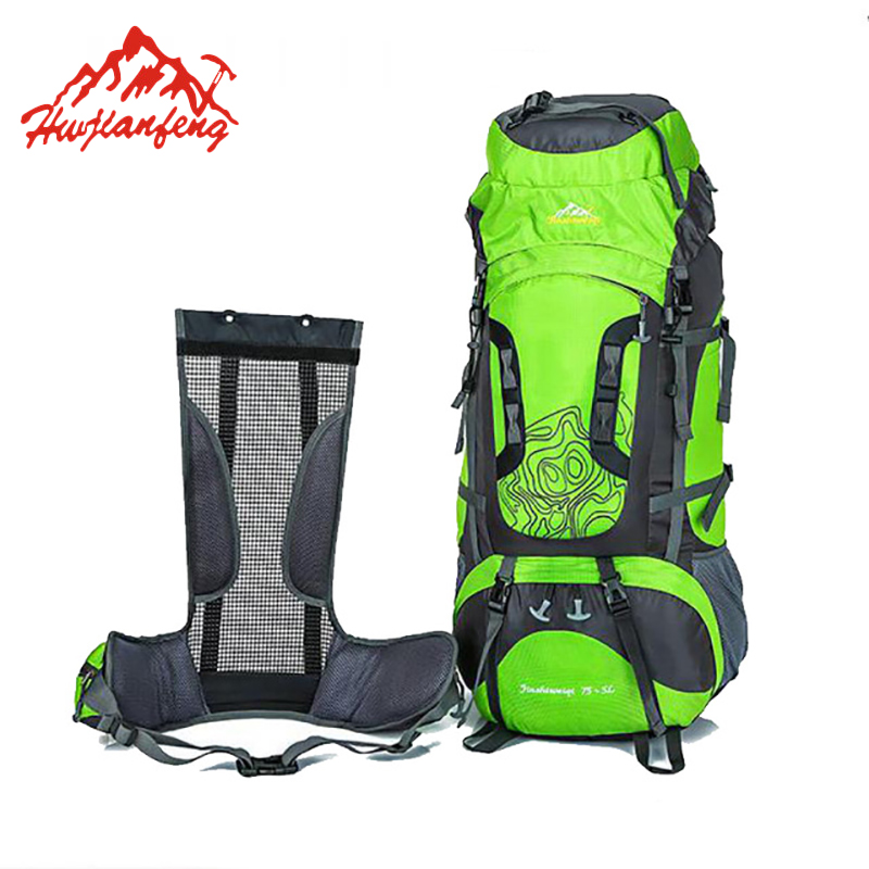 цена на 80 Liters Professional Waterproof Mountaineering Backpack Large Nylon Outdoor Bag For Climbing Hiking Camping Rucksack HAB017