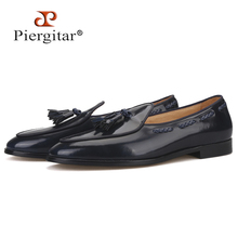 Piergitar 2019 navy colors ITALY designs handcrafted mens loafers calfskin BELGIAN LOAFERS with matching tassels plus size