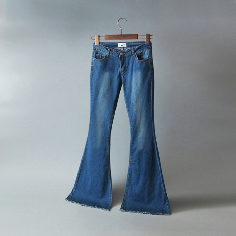 Fashion new arrival dark blue elastic mid low waist full length slim fit skinny denim flare