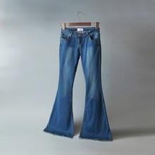 Мода нового прибытия темно-синий эластичный середине низкой талией полная длина slim fit тощие джинсы flare брюки джинсы для женщин