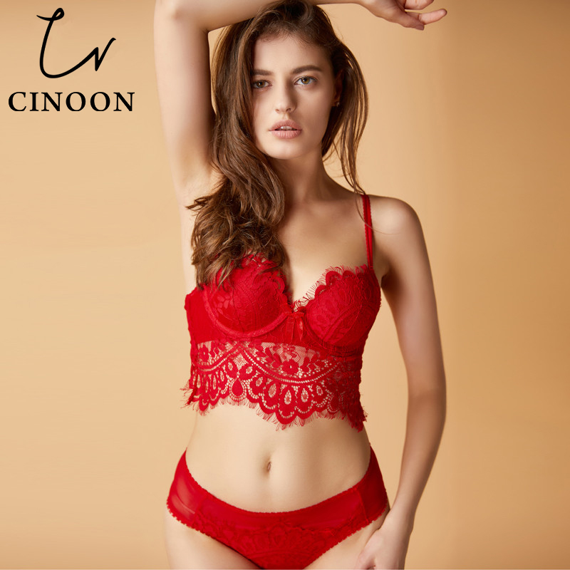 CINOON 2018 Fashion Sexy Intimate Underwear charming lace   bra     set   push up   bra   and panty   set   comfortable Underwear women Lingerie