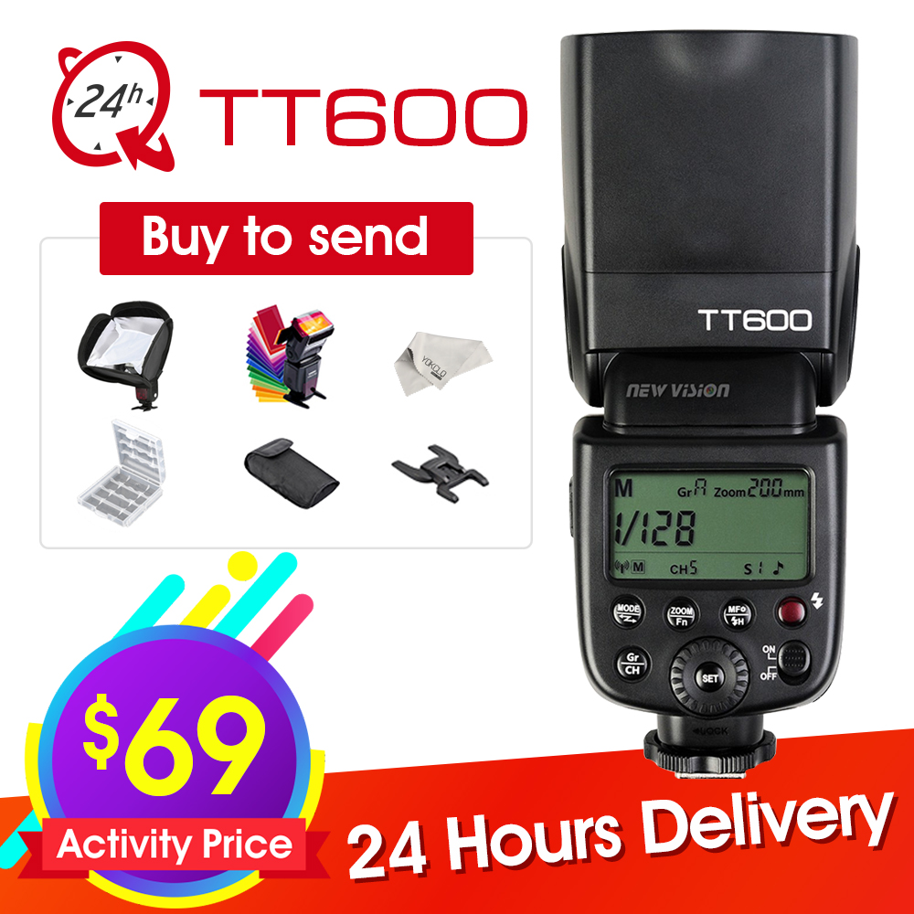 New Godox TT600 2.4G Wireless GN60 Master/Slave Camera Flash Speedlite for Canon Nikon Pentax Olympus Fujifilm + Six Big Gift spash sl 685c gn60 wireless master slave flash light ttl speedlite for nikon lcd screen cameras flash adjustable fill light