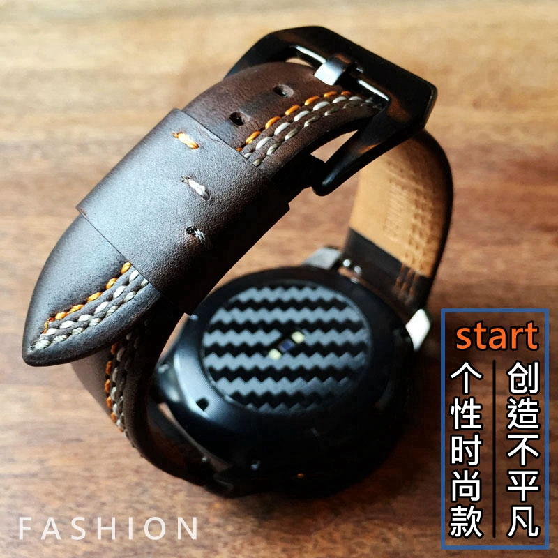 46mm 42mm Samsung Galaxy Watch Leather Strap Band For 22mm 20mm Samsung Gear S3 S2 High Quality Casual Bracelet Replacement