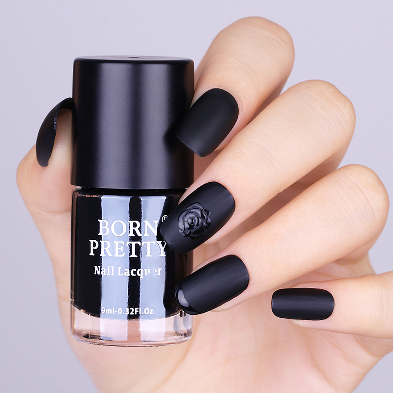 BORN PRETTY Black Nail Polish Matte Dull Effect 9ml Low Gloss ...