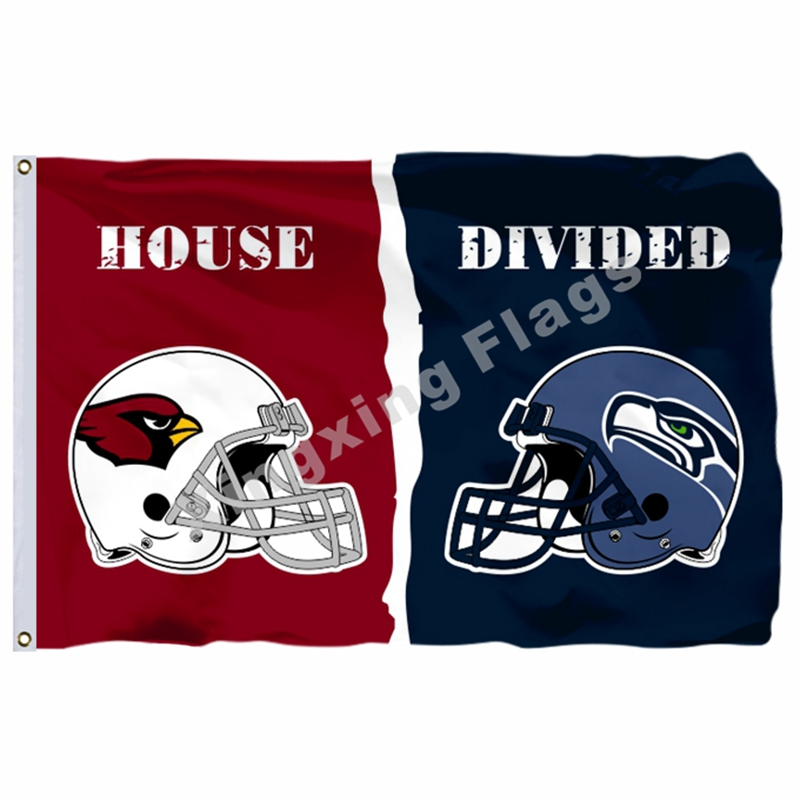 Arizona Cardinals Seattle Seahawks helmets House Divided Flag 3ft x 5ft Polyester NFL Banner Size No.4 144*96cm Custom flag