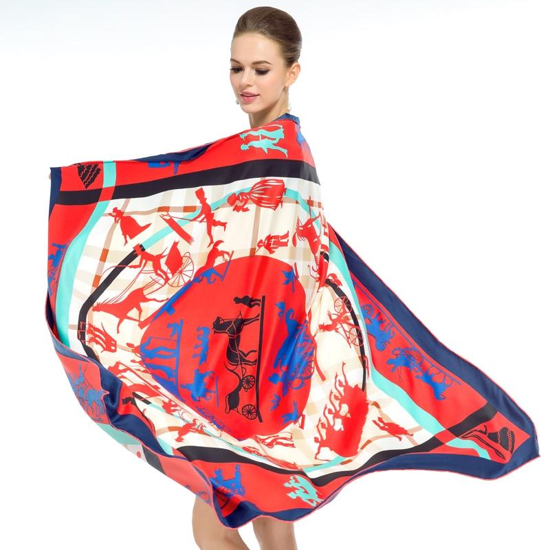 Twill Silk Women Scarf 130*130cm Euro Plaid Gezi Carriage Printed Print Square Scarves High Quality Gift Fashion Large Shawl
