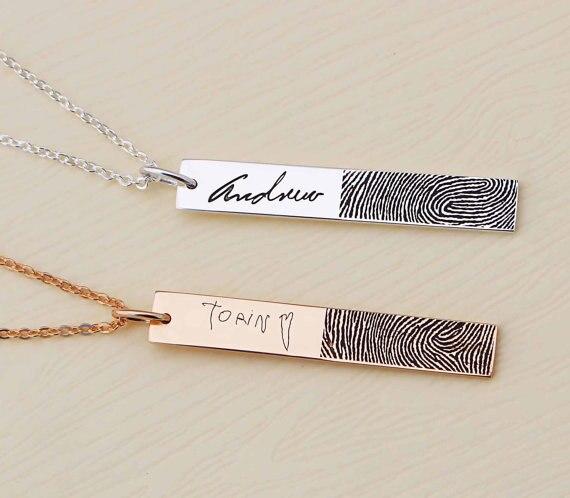 Véritable empreinte digitale collier pendentif collier personnalisé bijoux mémorial cadeau gravé mots bar collier