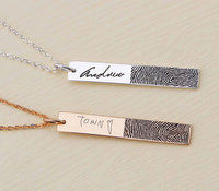 actual fingerprint necklace pendant necklace customized jewelry memorial gift engraved words bar necklace