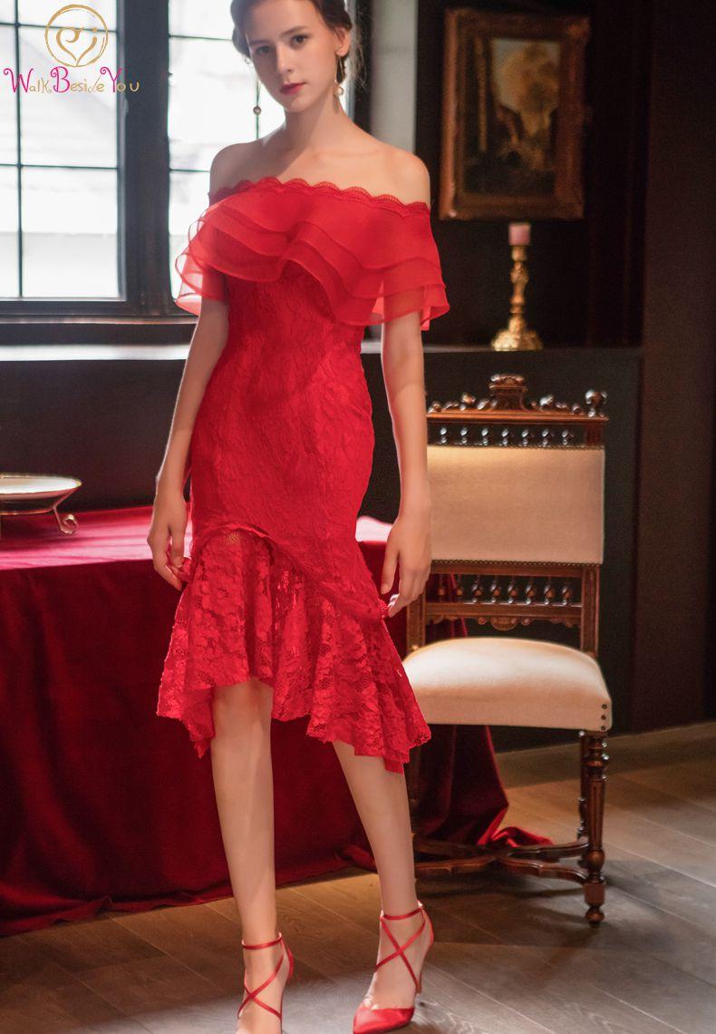 Marcher à côté de vous vin robes de Cocktail sirène Sexy hors épaule genou longueur dentelle Organza robes de soirée formelles sur mesure 2019