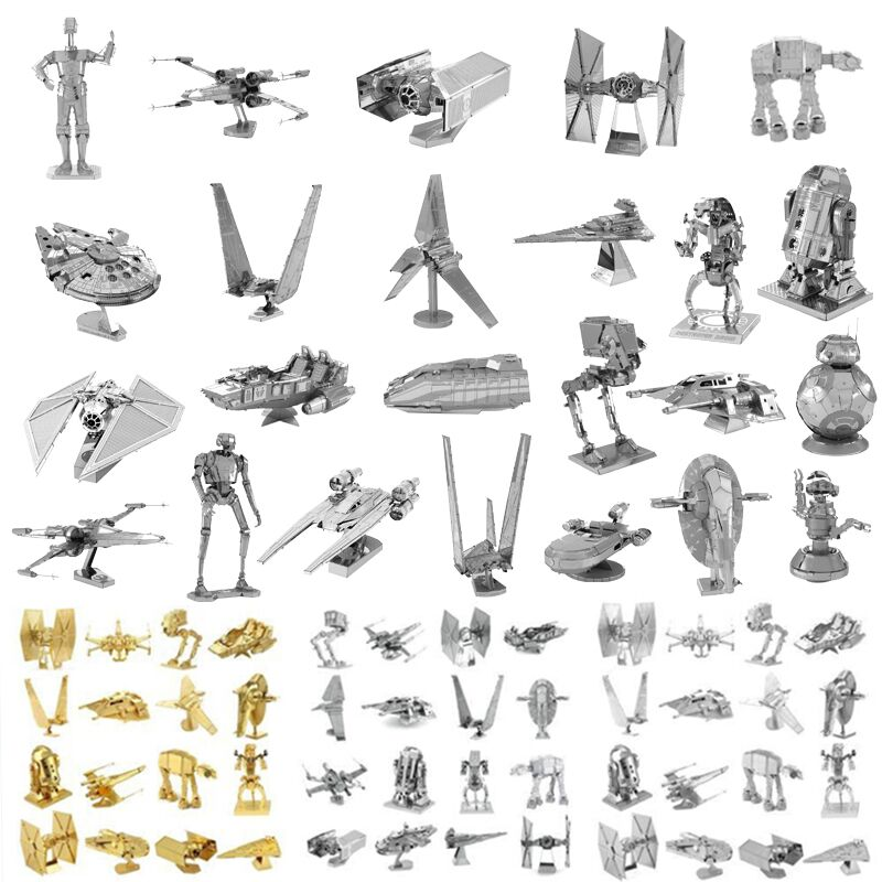 Star Wars Silver 3D Metal Puzzle K2SO C3PO Shuttle TIE Fighter X Wing BB 8 Robot