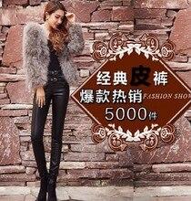 Free Shipping Spring Europe Splicing Female PU Pants Fashion Patchwork High Elastic Waist Slim Legging 26