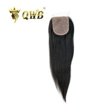 QWB Königin Weben Schönheit Seide Basis Schließung Gerade 12''/14'' Brasilianische Reines Haar Natur Farbe Kostenloser versand