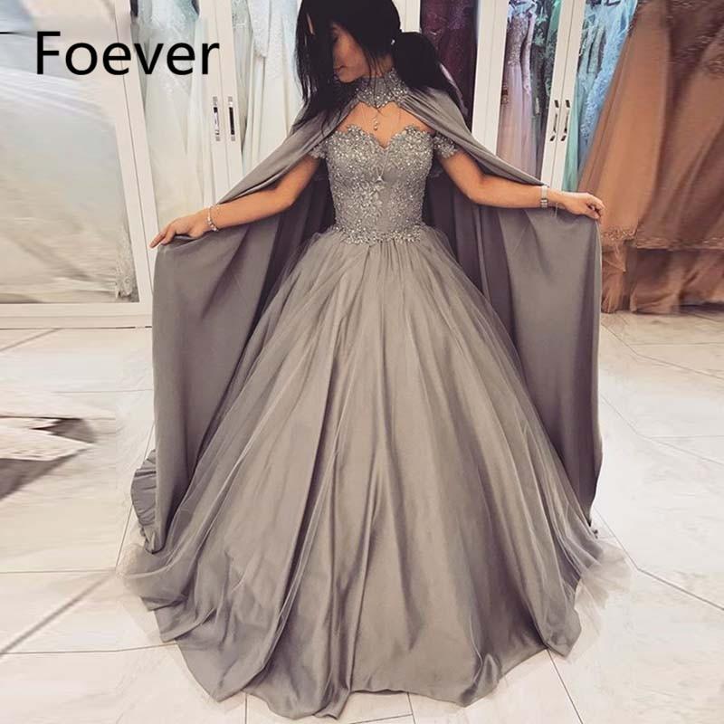 2019 robes de soirée robe de bal grise avec Cape hors de l'épaule Appliques paillettes robes de maquillage jupe gonflée plissage robe de reconstitution historique