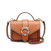 купить Badouqiu Genuine Leather Bag Women Handbag Vintage Shoulder Bag Famous Brand Designer Crossbody Messenger Bags Simple Style A5 дешево