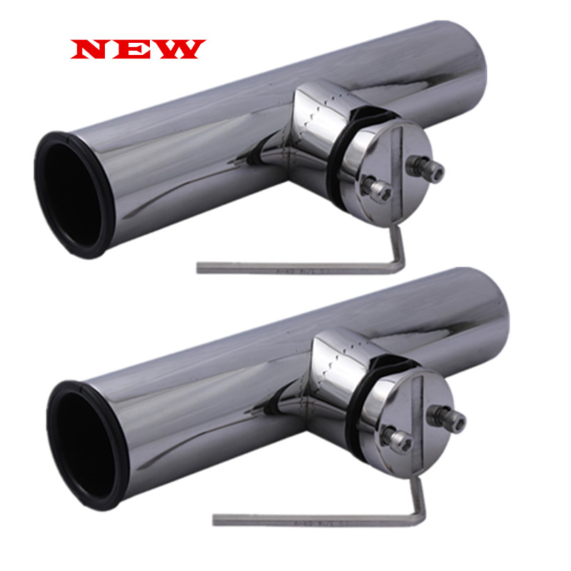New Arrived Fishing Tools 2Pcs Boat Stainless Steel Fishing Rod Holder Clamp-on With Wrench And Gasket