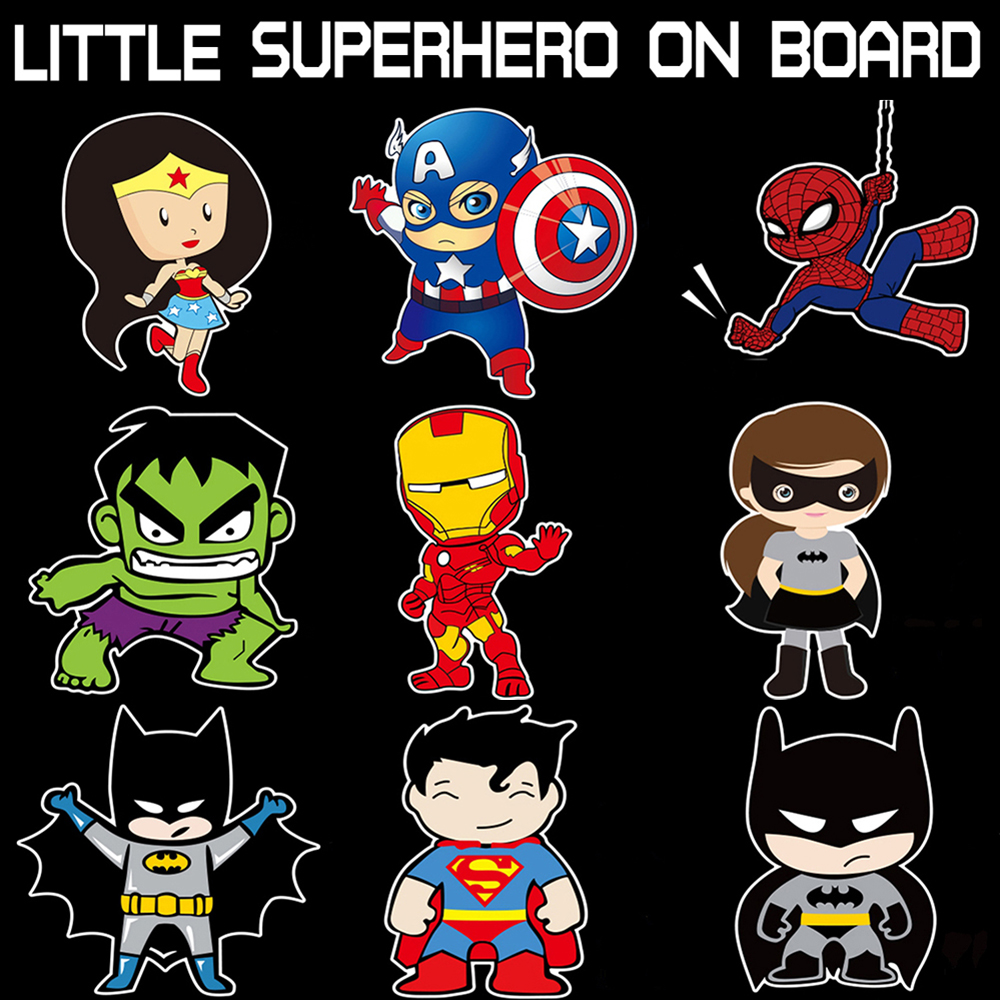 Aliauto Little Superheroes Baby On Board Car-Styling Reflective Car Stickers Decals For Ford Focus Golf  Kia Motorcycle Sticker