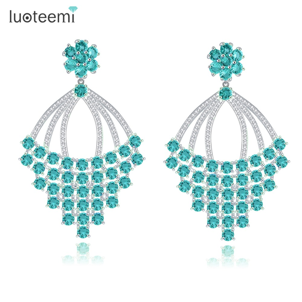 LUOTEEMI 2016 Brand New Design Special Green Cubic Zircon Prong Setting Big Stud Earrings for Women Christmas Gift Jewelry