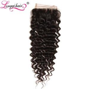 Image 4 - Longqi Brazilian Deep Wave Bundles with Closure Remy Human Hair Bundles with Closure Natural Color 4x4 Lace Closure with Bundles