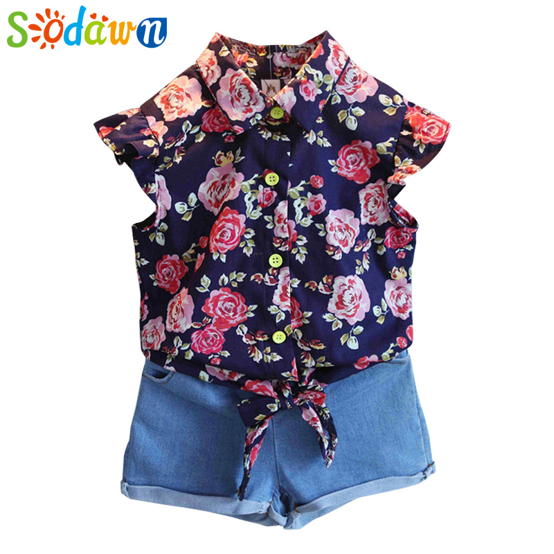 Sodawn Baby Girls Clothes Set Summer Style Sets Flower T Shirt + Denim Shorts 2Pcs Casual Girls Suits Kids Clothing Sets газонокосилка бензиновая stiga combi 48 b