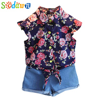 Sodawn Baby Girls Clothes   Set   Summer Style   Sets   Flower T Shirt + Denim Shorts 2Pcs Casual Girls Suits Kids   Clothing     Sets