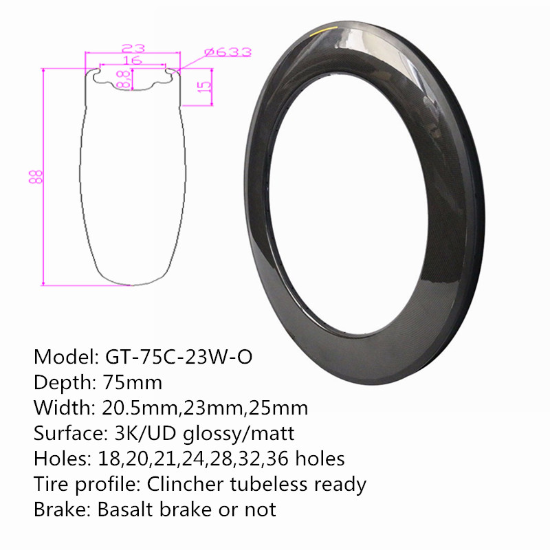 700C Road Bike Wheels Clincher Rims 88mm*23mm Perfect Surface Carbon Wheel Rim Extenal Holes Bicycle Parts Fast Free Shipping
