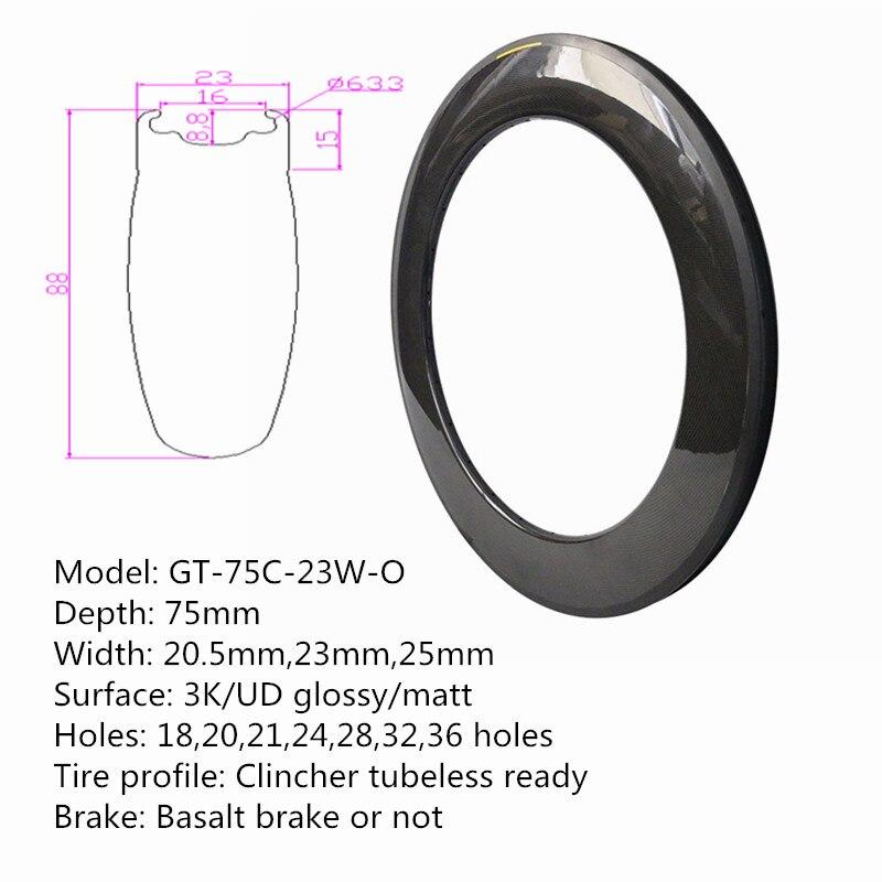 700C roues de vélo de route pneu jantes 88mm * 23mm Surface parfaite jante en carbone trous extensifs pièces de vélo livraison gratuite rapide