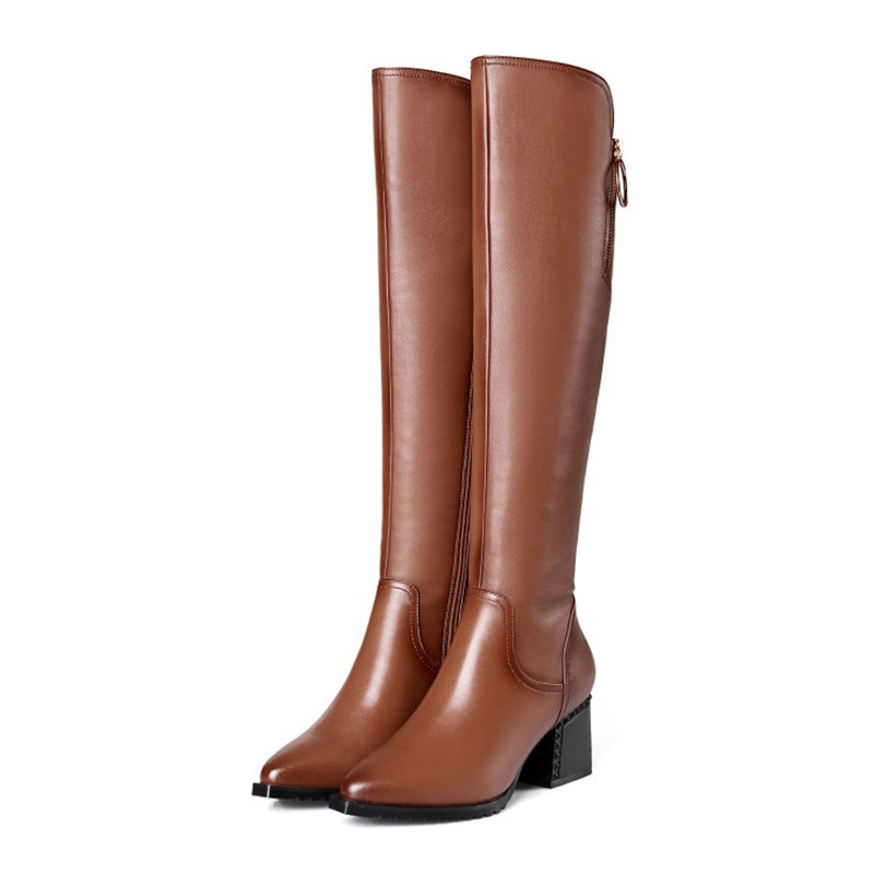 2019 autumn and winter new high-heeled boots warm thick with high boots womens boots brwon 04062019 autumn and winter new high-heeled boots warm thick with high boots womens boots brwon 0406
