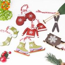 6pcs/set Creative Cute Wooden Christmas Ski Suit Pendants Decorations Theme Wood Crafts Ornaments Home Decor Supplies