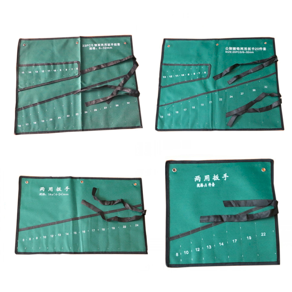 Pockets Canvas Spanner Wrench Tool Roll Up Storage Bags Organizer Pouches Case