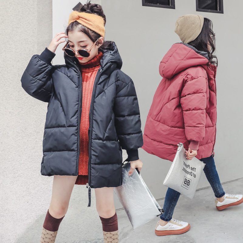 Teenager Girls Fashion Jackets 2018 Winter Cotton Padded Down Coat Thicken Warm Long Hooded Jackets 4 5 6 7 8 9 10 11 12 13 14 Y цена