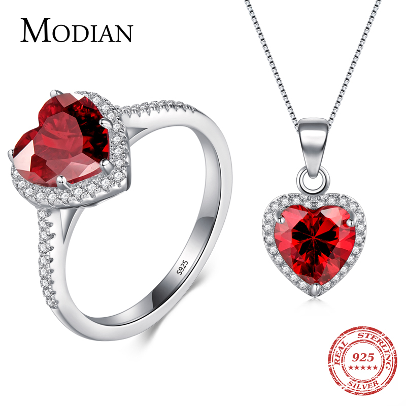 Modian Asli Padat 925 Sterling Silver Hati Set Perhiasan Cincin Kalung Pernikahan Kristal Pendant Mode Rantai Merah Untuk Wanita
